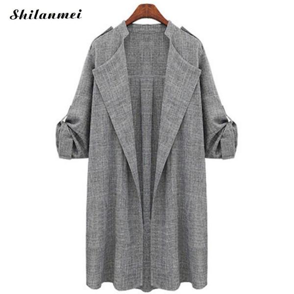 2018 mode Herbst Frauen Jacken Trenchcoat Langarm Jacken Mantel Plus Größe Strickjacke Weibliche Blusas Chaqueta Mujer