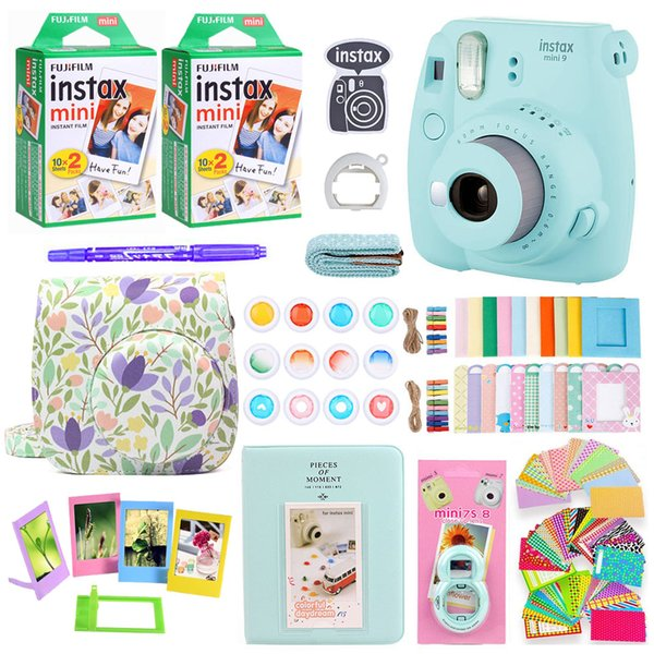 Instax Mini 9 Instant Photo Printing Camera With 40 Sheets Mini Film Paper Camera Shoulder Strap Bag Accessories Bundle