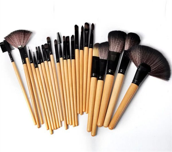 Professional 24 PCS Makeup Brush Set Make-up Toiletry Kit Wool Brand Make Up Brush Set Case free shipping 100% coat hair 2019