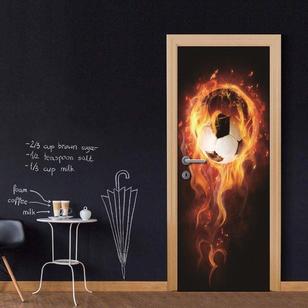 Wholesales DIY Door Sticker Creative Fire Football Door Decal for Bedroom Living Room wallpapers Decal home accessories
