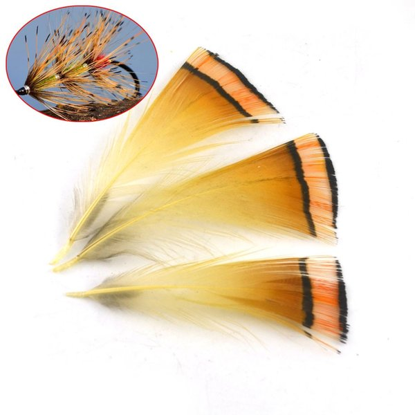 MNFT 50PCS Real Natural Golden Pheasant Tippet Feather Natural Fly Tying Material Fly Fishing Lures Wholesale