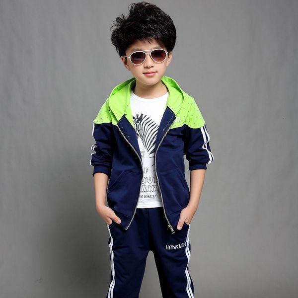 Boys Tracksuit Clothes set Kids Hooded Spring&Autumn Cotton School Uniform Sport Suit Boy Clothing Sets 4 6 8 10 12 14 yearMX190916