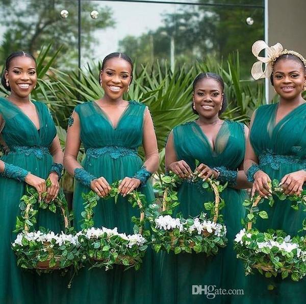 Vestidos De Dama De Honra De Tule Verde escuro Longo Apliques Frisado Da Dama de honra Vestidos Com Decote Em V Poet Manga Longa Vestido de Festa de Casamento