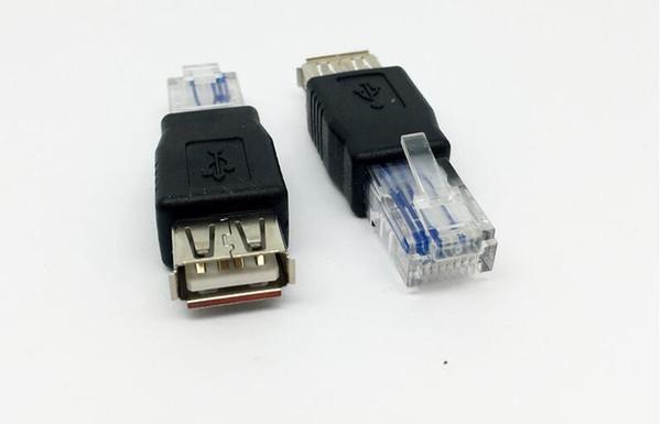 PC Crystal Head RJ45 Male to USB 2.0 AF A Female Adapter Connector Laptop LAN Network Cable Ethernet Converter Transverter Plug free ship