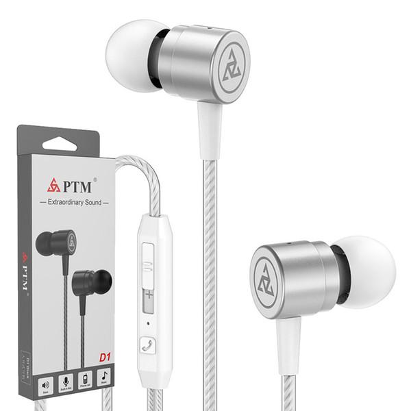 Originale PTM D1 In Ear Auricolari In lega di zinco Controllo del volume Cuffie Bass Sound Auricolari Sport Noise Cancelling Cuffie con microfono per Samsung