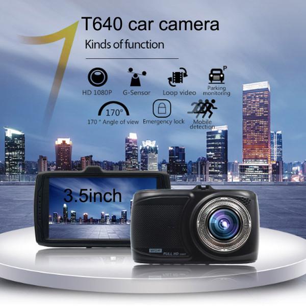 T640 автомобильная камера Full HD 1080P 3,5-дюймовый видеокамера 170 градусов петли RecordWith G-сенсор многоцелевой автомобиль черный ящик тире DVR