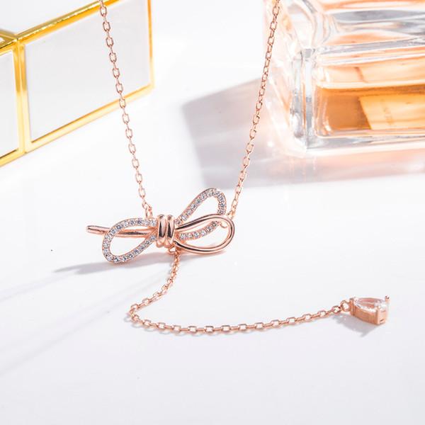 Galvanoplastia 18K oro arco colgante de cristal collar de borla coreana coreana celebridad de Internet Choker joyería moda mujer