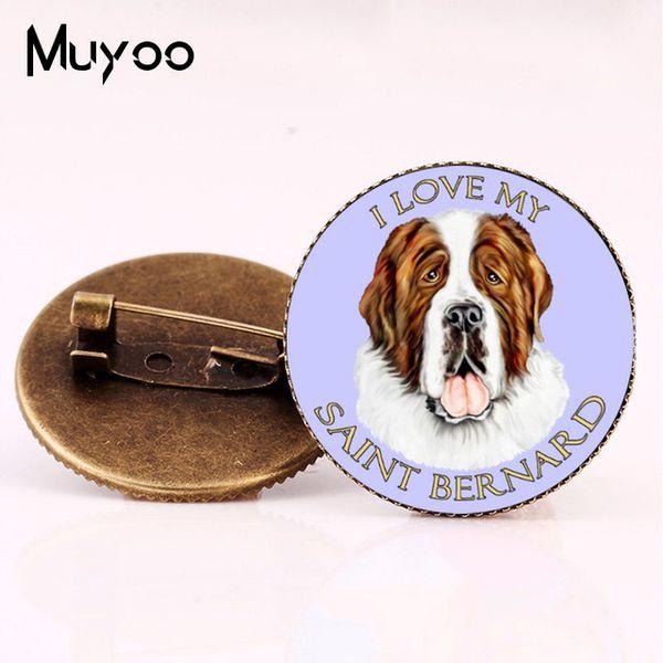 New Style Saint Bernard Brooch Vintage Dog Pin Milk White Animal Glass Photo Art Round Pins Cabochon Glass Brooches