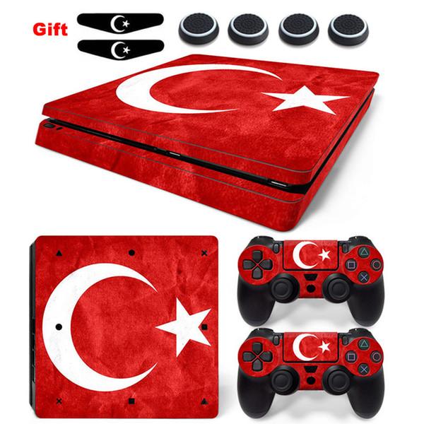 Turquia Bandeira Nacional Adesivo para PS4 Slim Vinil Anti-slip Skin Decal e 2x Controlador Adesivos Acessórios Para Playstation 4 Slim Console