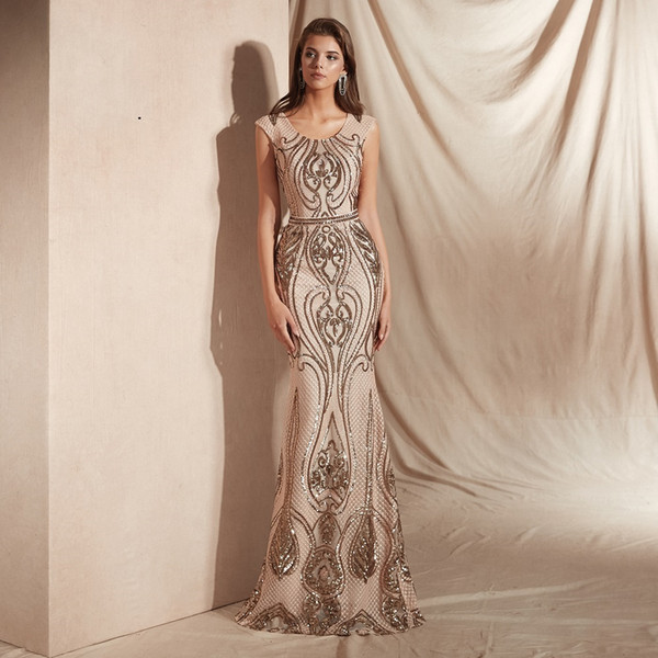 Sexy Hollow Back Lace Trumpet Long Prom Dresses Sleeveless 2019 Scoop-Neck Brilliant Sequins Beaded Evening Gowns Party Dress