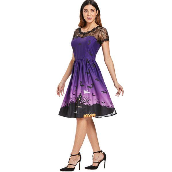 Halloween Party Costume Women Short Sleeve Retro Lace Patchwork Dress A Line Pumpkin Swing Dress Drop Shipping