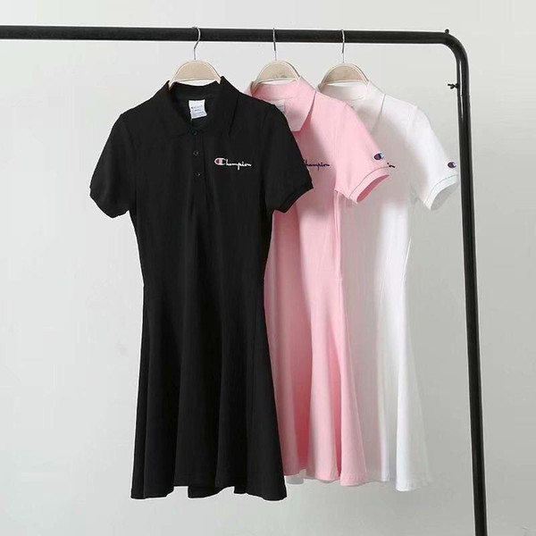 NEW Fashion Champi0n Summer Dress Long polo T Shirt High Street Brand Women Clothes Luxury Womens Designer Dress Black White & Pink