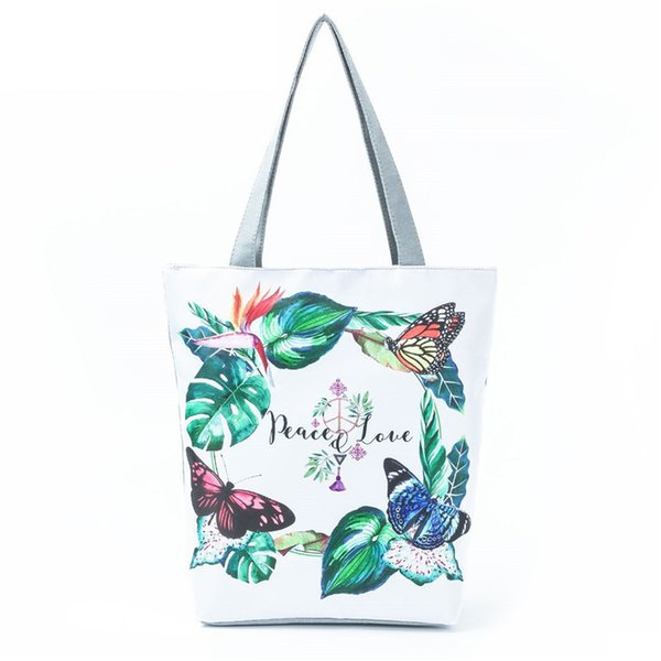 good quality Colorful Butterfly Printed Single Shoulder Bag Women Canvas Tote Handbag Female Daily Use Summer Beach Bag Girls