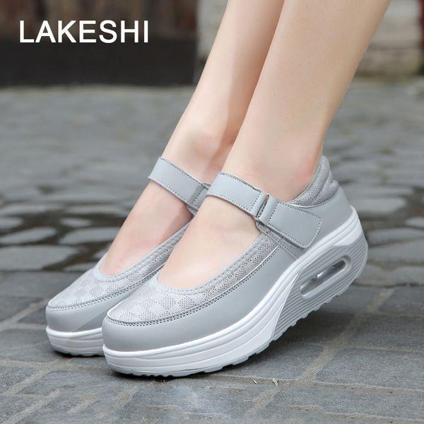 Moda Mary Jane Kadın Ayakkabı 2019 Yaz Platformu Ayakkabı Kadınlar Flats Nefes Örgü Salıncak Bayanlar Sandalet 42