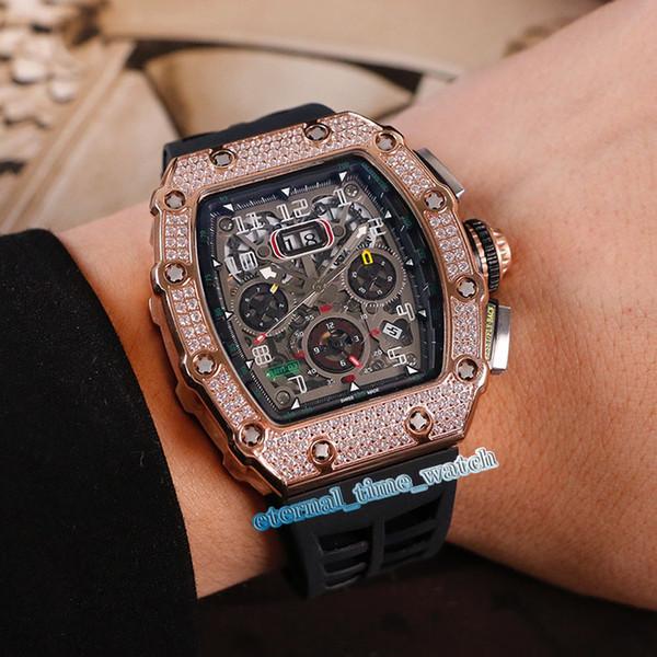 17 style RM11-03 Skeleton Big Date Dial Japan Miyota automatique RM 11-03 Mens Watch or rose diamant cas en caoutchouc Bracelet Gents Montres Sport