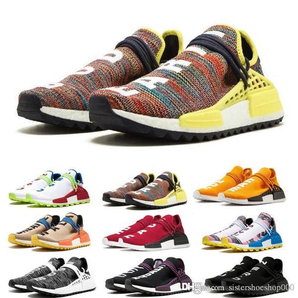 adidas HU nmd human race Diseñador NMD Human Race Pharrell Williams de muestra Amarillo Core Negro Moda Mujer Hombre Zapatillas deportivas con caja
