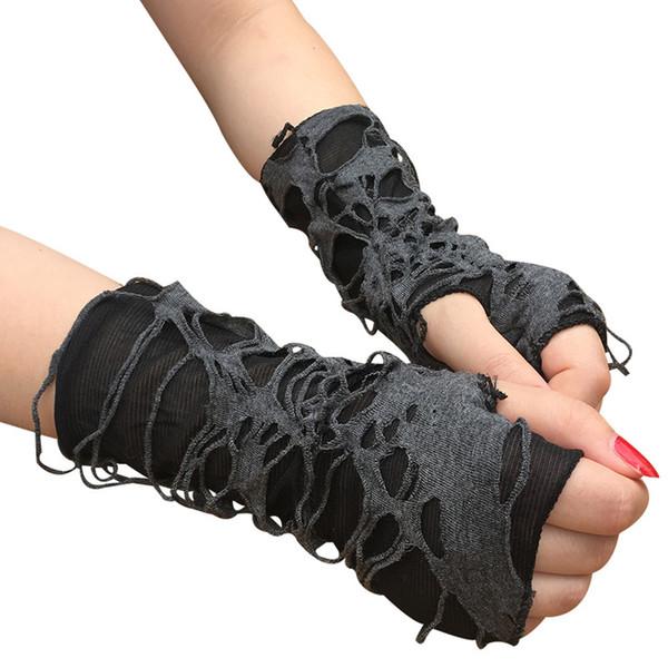 Siyah Perişan Eldiven oyna Gotik Halloween Carnival Cosplay Parti Giydirme Aksesuar Parmaksız Dilenci Rol Delikler Eldiven Ripped