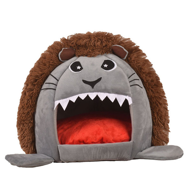 Foldable Pet House Dog Bed Lion Shape Dog House With Pad Cute Pet Kennel Nest Warm Sofas Cat Sleeping Bed Products