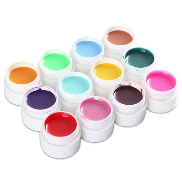 12pcs/set Builder Sculpture Carved Glue Nail Gel Varnish Modelling Decor Painting Adornment Tools Gel Nail Polish