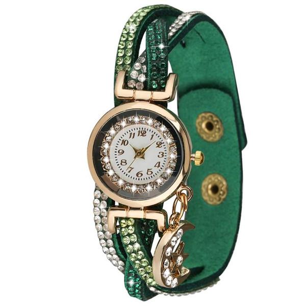 Arabic Digital Dial Watch Elegant Moon Pendant Bangle Watch Exquisite Brown Diamond-encrusted Watchband Women Bracelet Watches