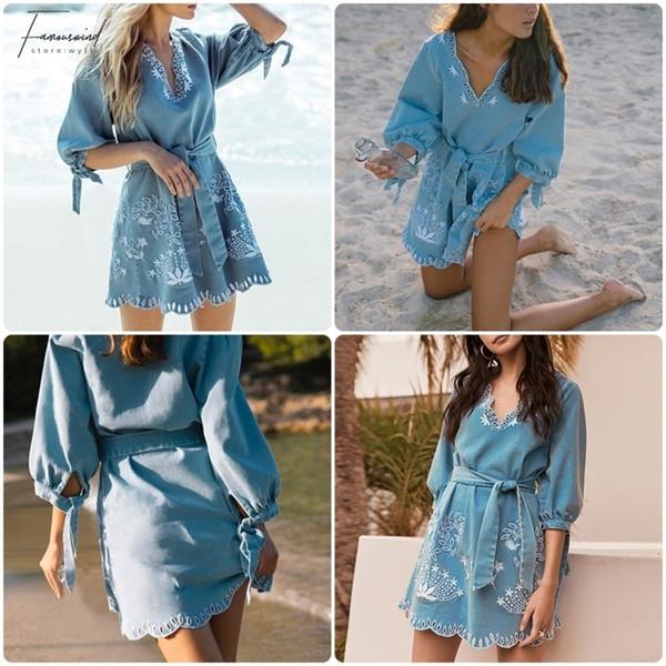 Лето V шея Embrodiery Denim платье Женщина Элегантных пояса Короткие Голубые джинсы платье Повседневный отдых Ladies Beach платье