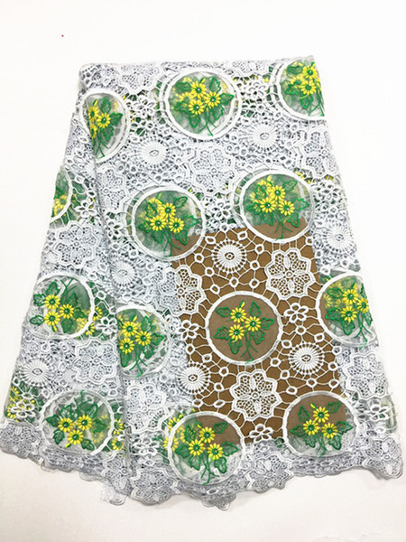 (9colors)j130 White And Green Hot Selling African Guipure Lace Fabric,most Popular Embroidered Cord Lace Fabric For Party Dress!