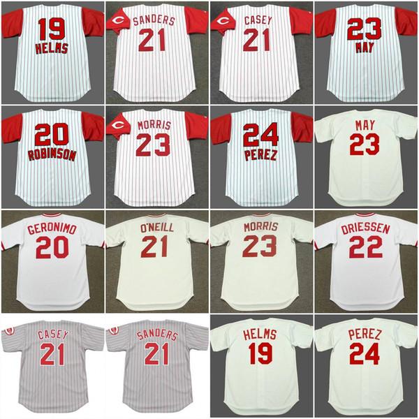 Cincinnati TOMMY HELMS 1960 'Reds CESAR GERONIMO 1975 FRANK ROBINSON DEION SANDERS Années 1960 1997 PAUL O'NEILL Vintage Jersey 1990