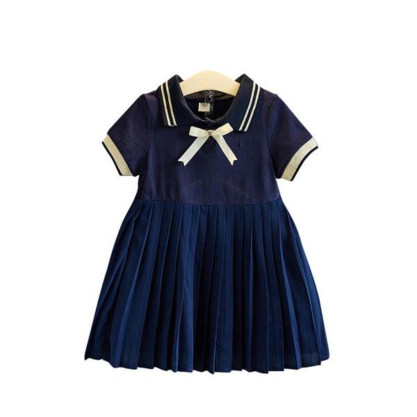Mode Bögen adrette Mädchen Kleider Faltenrock Kinder Prinzessin Kleid Kinder Sommerkleidung Mädchen Kinder Designer Kleidung Mädchen Kleid A5145