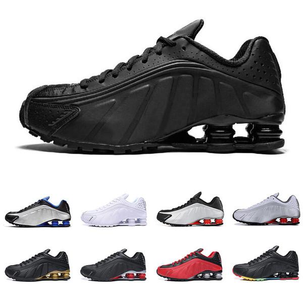 Compre Nike Shox R4 Hombres Mujeres Zapatos Para Correr De Calidad Superior OG Triple Negro RACER BLUE COMET RED Para Hombre Zapatillas Deportivas De