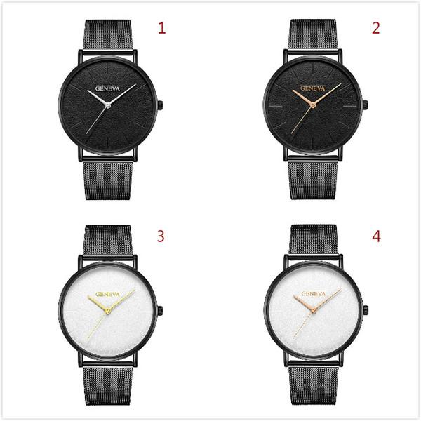 Geneva 623 Geneva Net Belt Watch for Women Men High Quality Dark Scale Watches for Boy Girl Concise Quartz Wristwatch Teen