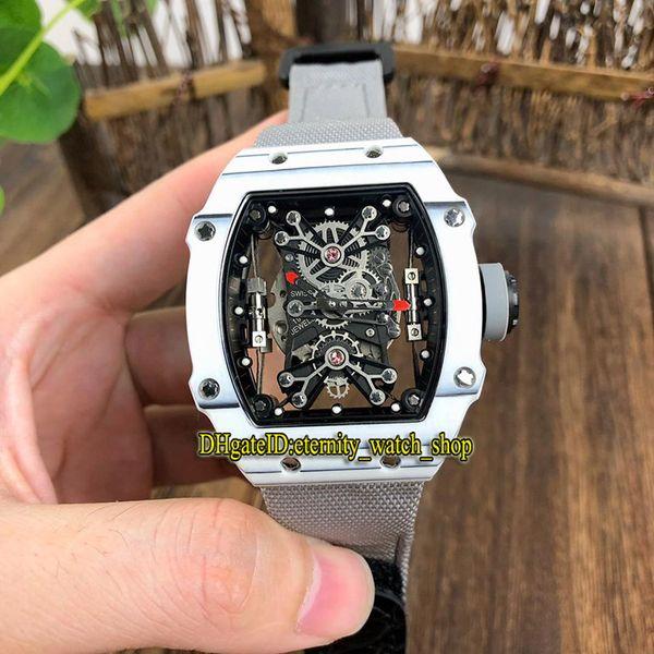 15 Colour RM 27-01 Nadal Skeleton Dial White NTPT Carbon Fibre Case Japan Miyota Automatic 27-01 Mens Watch Gray Nylon Strap Sport Watches