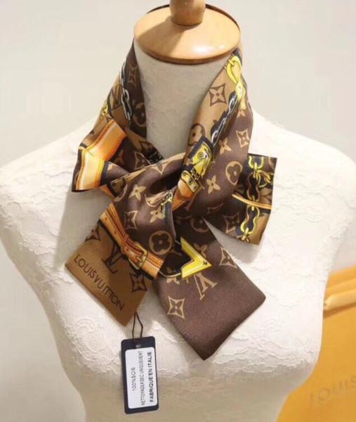 Venta caliente para mujer diadema de diseño de marca Clásico 100% realy bufandas de seda de moda banda para el cabello de alta qualtiy diadema marrón