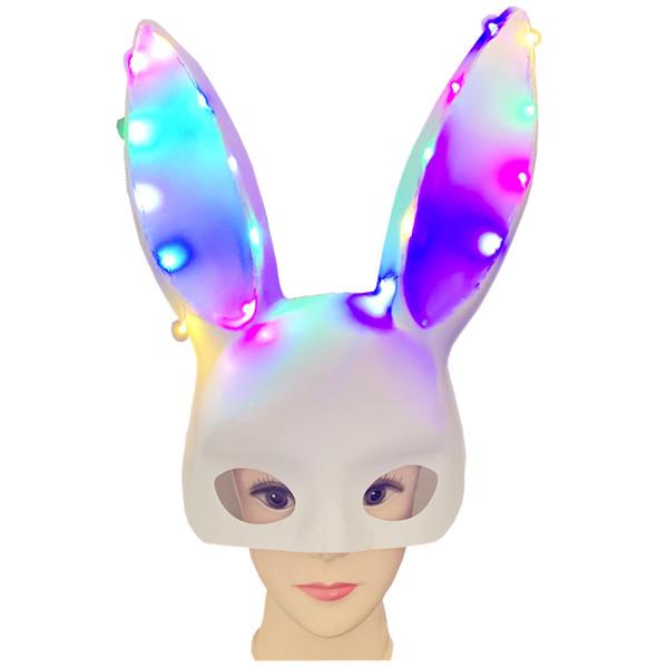 Las mujeres veneciana LED máscara del traje del conejito del fiesta de Halloween del partido de la mascarada máscara de conejo 2 Color (Blanco y Negro)