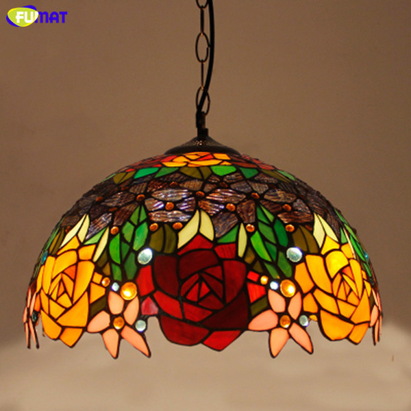 Fumat Stained Glass Pendant Lights Rose Flower Hanglamp E27 Led Hanging Light Fixture Suspension Luminaire Pendant Lamps Pendant Track Lights Discount