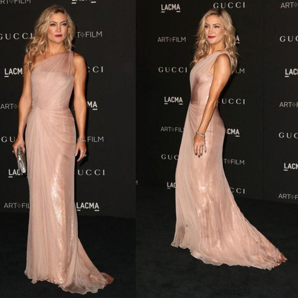 Dusty Pink Red Carpet Celebrity Dresses Kate Hudson One Shoulder Sheath Chiffon And Sequins Floor length Evening Gowns Prom Party Dresses