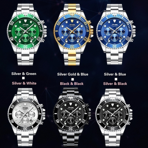 Newest Mens Fashion Luxury Business Date Week Wrist Watch Classic Blue Dial Butterfly Double Fastener Mechanical Watch