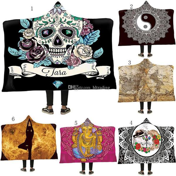 top popular 150*200cm Mandala Sun Hooded Blanket Thickening Velvet Plush Sherpa Robes Family cloak 12 colors bath towel M079 2020