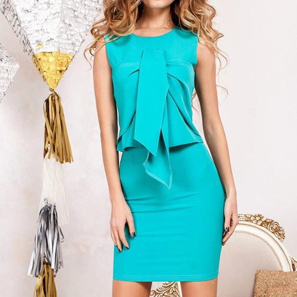 6 Colors Fashion Office Dresses For Lady Two Pieces Suit O-Neck Sleeveless Bodycon Slim 2019 Summer Dress Vestidos LJ9230Y