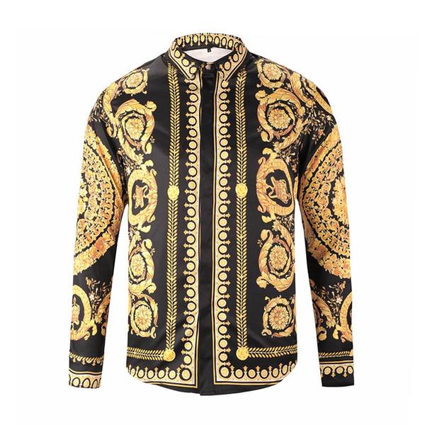 Brand New Men's Dress Shirts Fashion Harajuku Casual Shirt Men Luxury Medusa Black Gold Fancy 3D Print Slim Fit Shirts