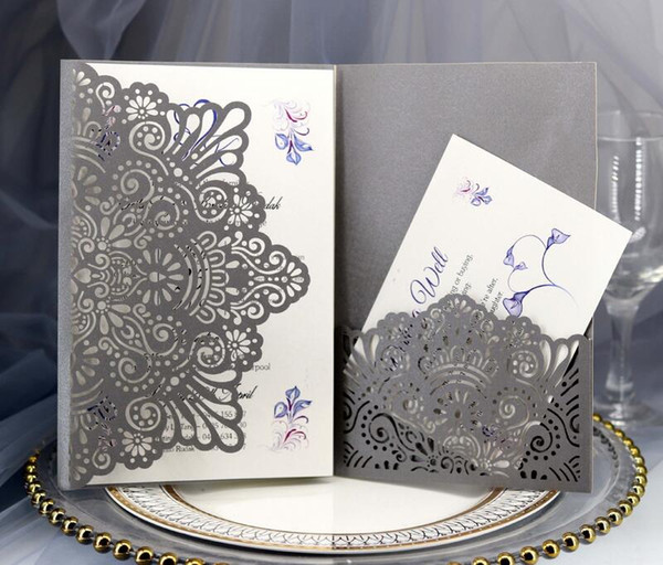 Wedding Invitation Card High Quality Elegant Envelope, Inner Page, Invitations pocket 3PCS/Set Laser Cut Hollow Invitations Cards HK-1