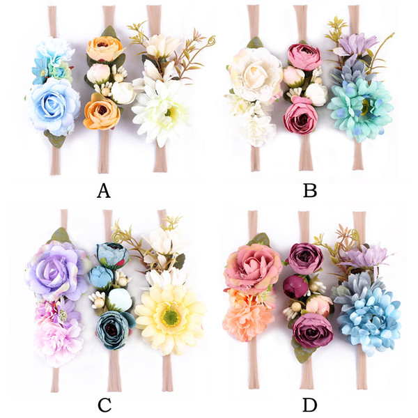 Baby Bohemia Headband Artificial Flowers Nylon Headbands 12 styles Baby Girl Hair Bows Beach Holiday Hair accessories 3pcs lot
