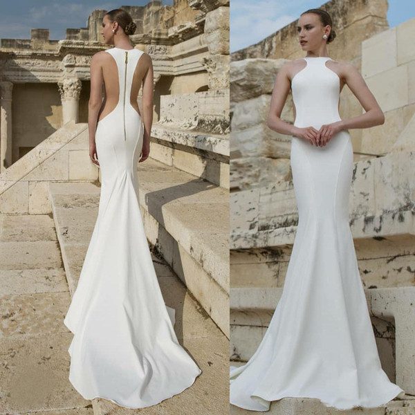 Elegant Designer Sexy Mermaid Wedding Dresses 2019 Jewel Neck Cut Side Zipper Back Simple Satin wedding dresses bridal gowns Cheap