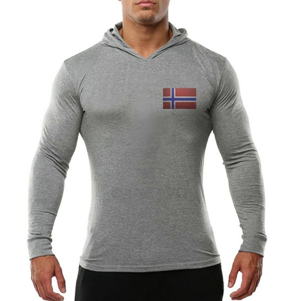 2019 new fashion popular gym Men's Fitness Cotton Long-sleeved Sanitary Wardrobe Printed and Ironed Norwegian Flag gym Long sleeves