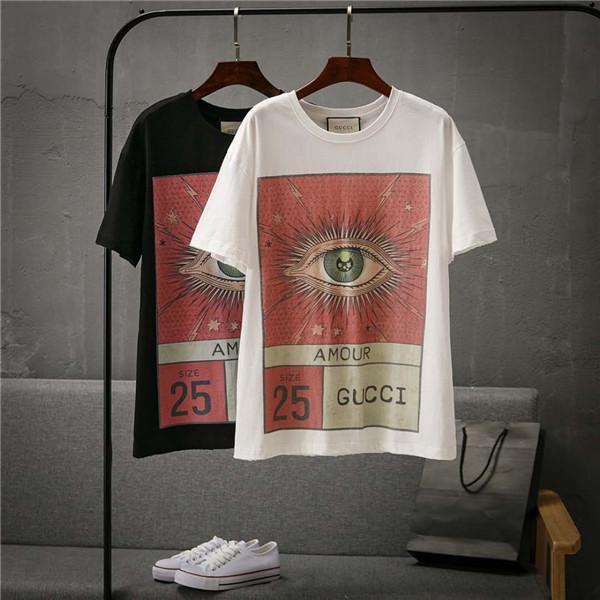 19ss nova marca de moda Paris design de impressão olho T-shirt dos homens e mulheres respirável moda rua blusão camisola ao ar livre T-shirt