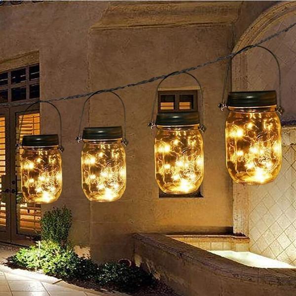 Mason Kavanoz Güneş Fenerler Işıkları 20 Leds Yıldızlı Yıldız Peri Firefly Açık Patio Bahçe Yard Mason Kavanoz Düğün için Kavanoz Işıkla ...