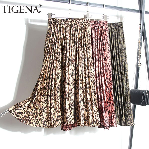 Tigena Fashion Leopard Skirts Women With Lined 2019 Spring Summer High Waist Pleated Midi Long Skirts Female Korean Skirt Ladies J190619