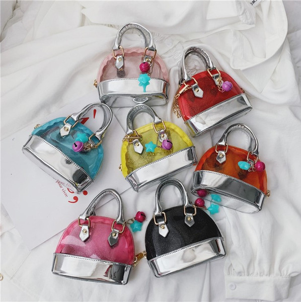 fashion kids jelly bag Candy Color lucency children handbag star Pendant All-match kids shell mini bags Y1166