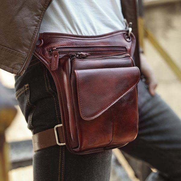 Modelshow Mens Crazy Horse Leather Retro Mini Crossbody Sling Waist Packs Pouch Bag