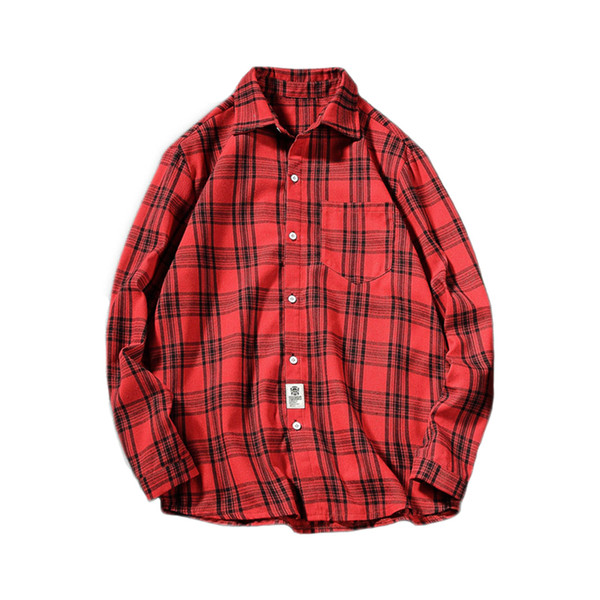 c9ef4211faa 2019 Spring Autumn Men Women Fashion Hot Korea Style Plaid Long Sleeve Shirt  Male Lover Lapel Casual Shirt Red XXXXL 70B0600