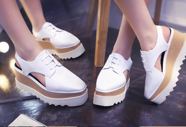 Stella Elyse Cutout Platform Oxford Platform Shoes Lace-Up Wedge Leather Wedge Heel Square Toe Women's Sandals Shoes 33-41 v12